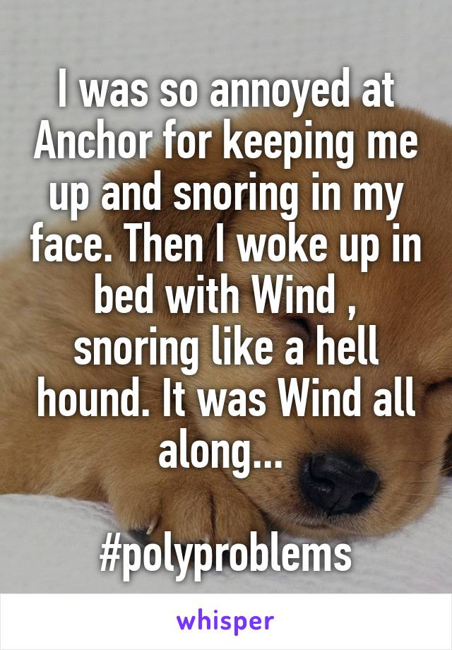 I was so annoyed at Anchor for keeping me up and snoring in my face. Then I woke up in bed with Wind , snoring like a hell hound. It was Wind all along...   #polyproblems