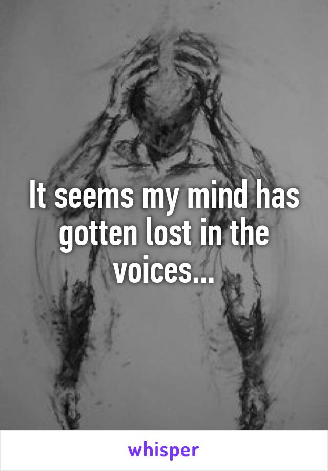 It seems my mind has gotten lost in the voices...