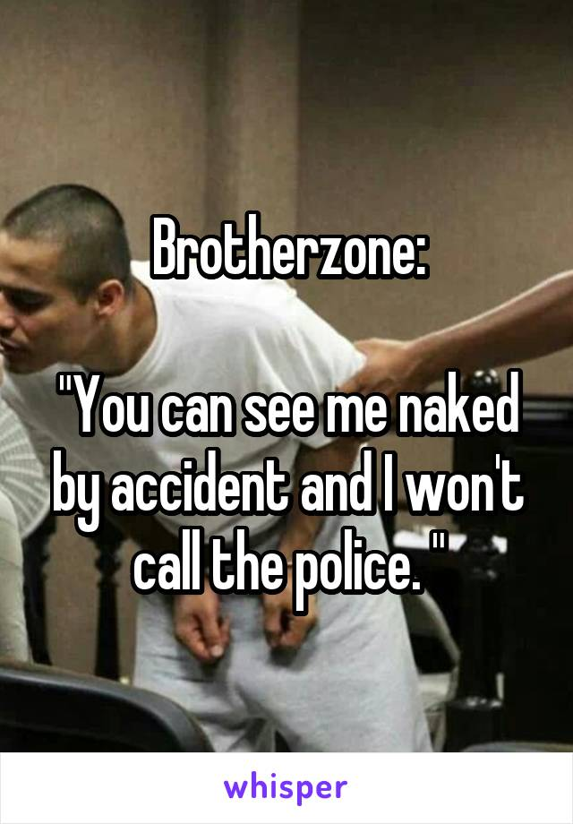 "Brotherzone:  ""You can see me naked by accident and I won't call the police. """