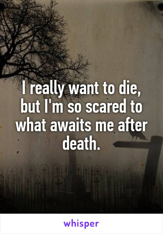 I really want to die, but I'm so scared to what awaits me after death.