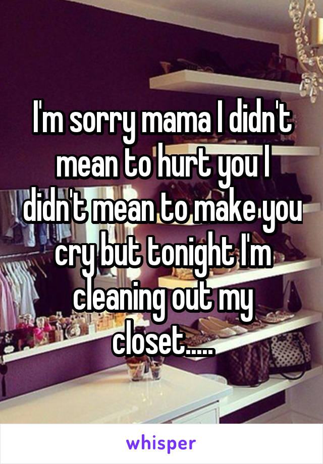I'm sorry mama I didn't mean to hurt you I didn't mean to make you cry but tonight I'm cleaning out my closet.....