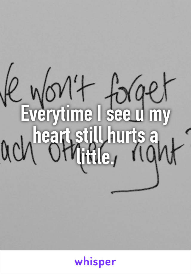 Everytime I see u my heart still hurts a little.