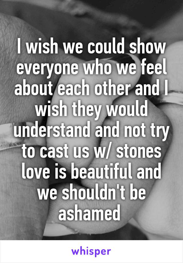 I wish we could show everyone who we feel about each other and I wish they would understand and not try to cast us w/ stones love is beautiful and we shouldn't be ashamed