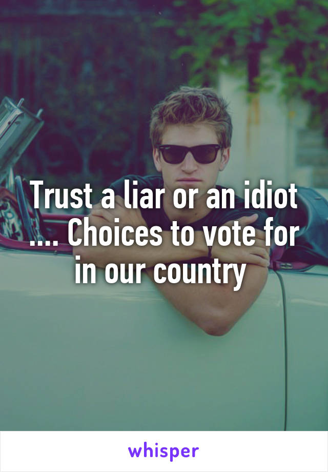 Trust a liar or an idiot .... Choices to vote for in our country