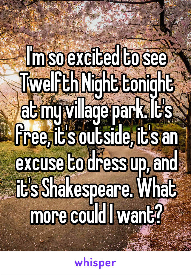 I'm so excited to see Twelfth Night tonight at my village park. It's free, it's outside, it's an excuse to dress up, and it's Shakespeare. What more could I want?