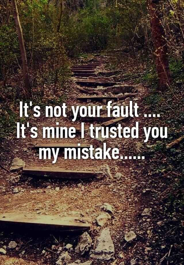 It's not your fault      It's mine I trusted you my mistake