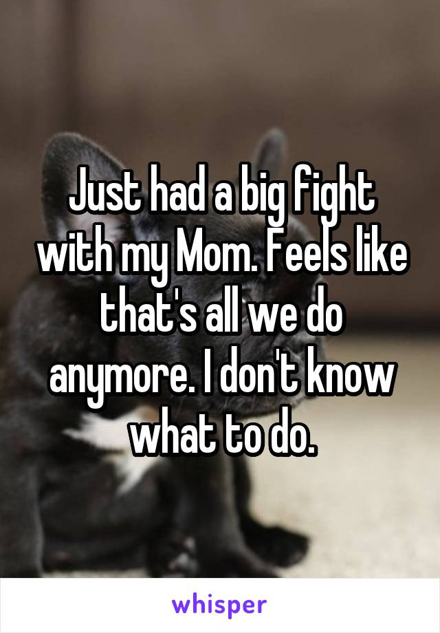 Just had a big fight with my Mom. Feels like that's all we do anymore. I don't know what to do.
