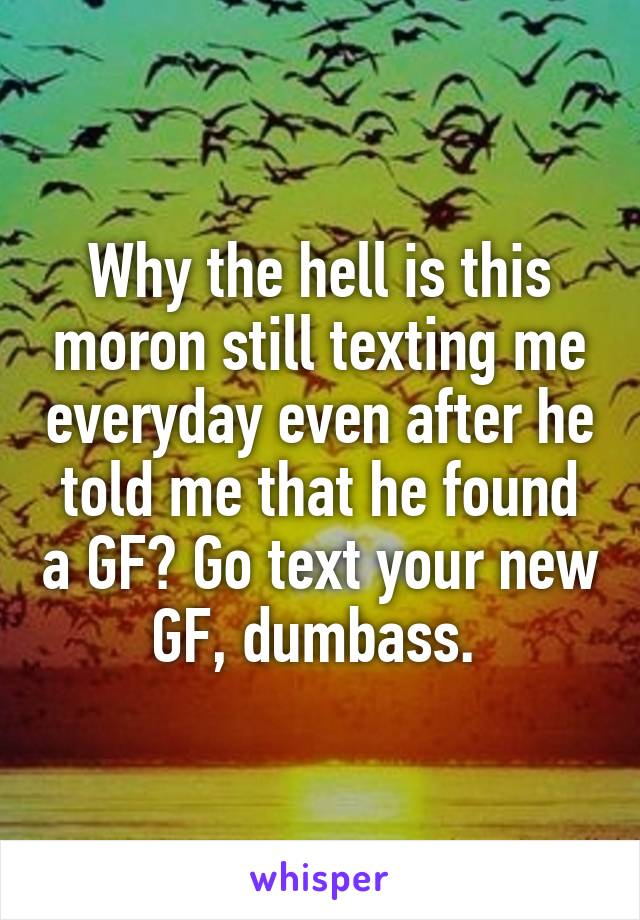 Why the hell is this moron still texting me everyday even after he told me that he found a GF? Go text your new GF, dumbass.
