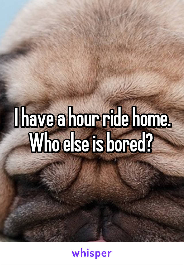 I have a hour ride home. Who else is bored?