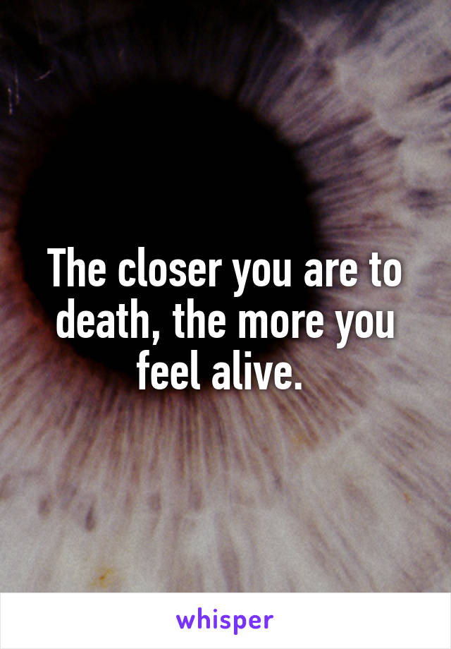 The closer you are to death, the more you feel alive.