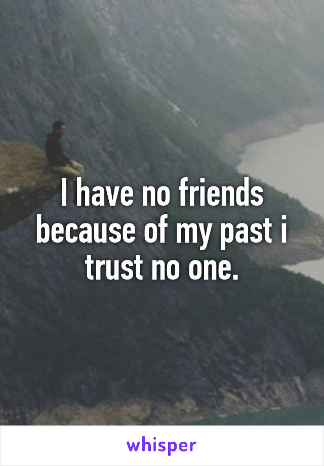 I have no friends because of my past i trust no one.