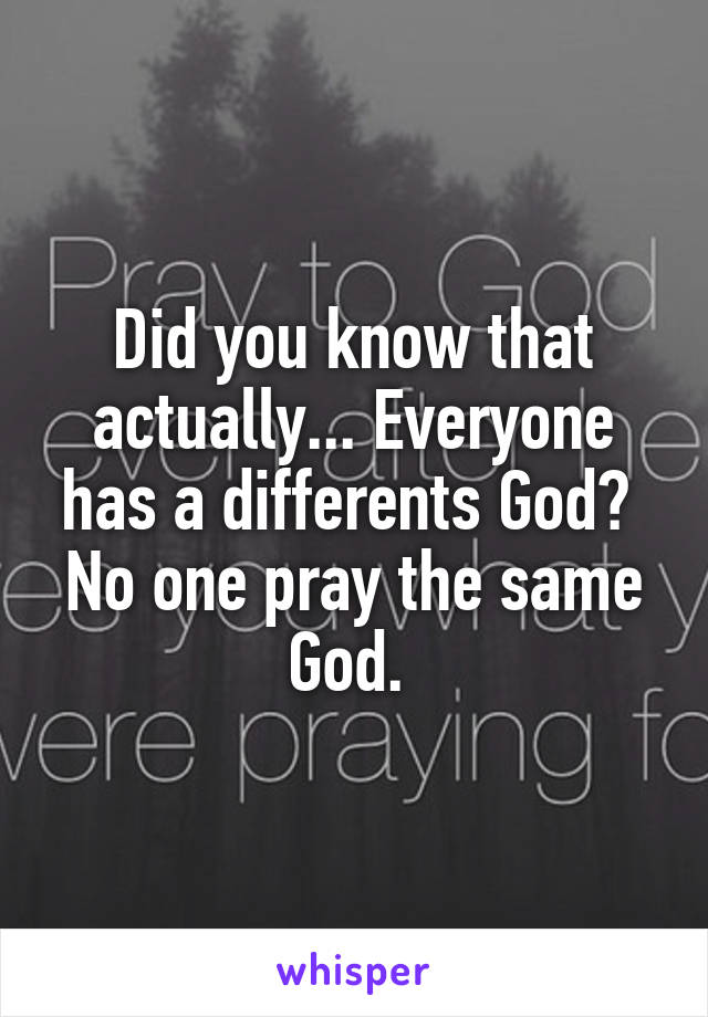 Did you know that actually... Everyone has a differents God?  No one pray the same God.