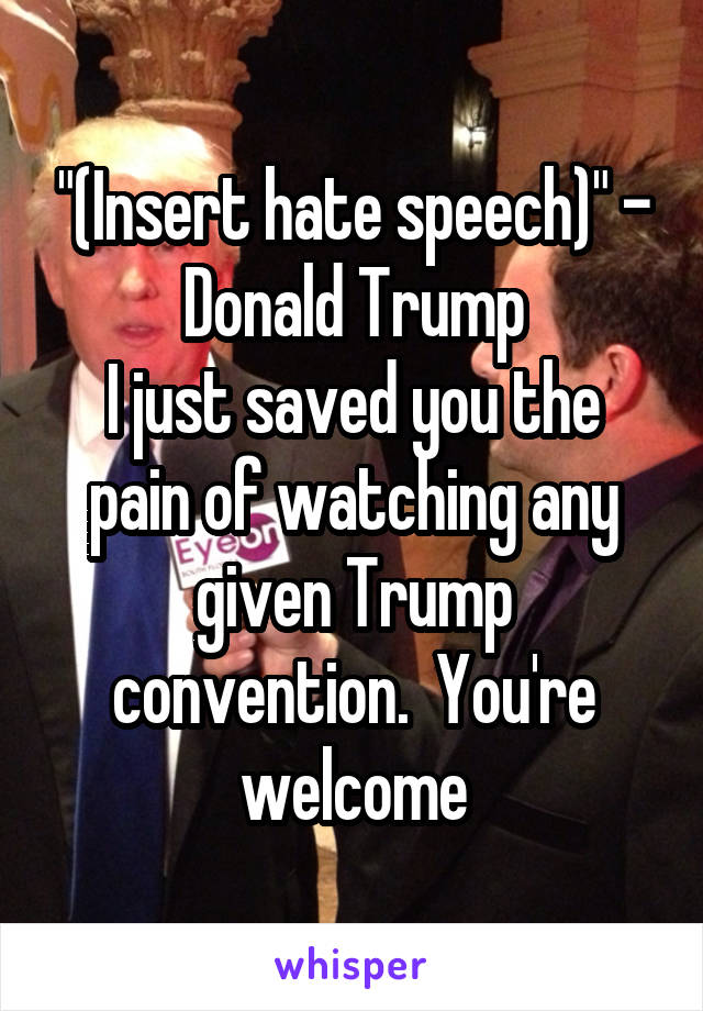 """(Insert hate speech)"" - Donald Trump I just saved you the pain of watching any given Trump convention.  You're welcome"