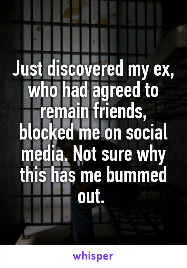 Just discovered my ex, who had agreed to remain friends, blocked me on social media. Not sure why this has me bummed out.