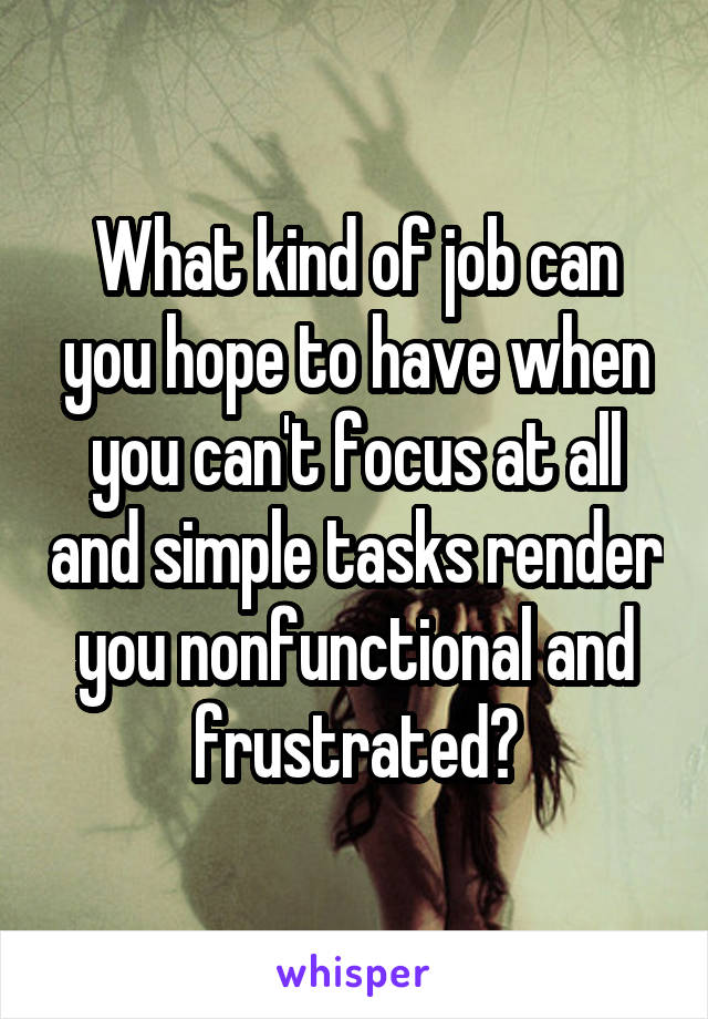 What kind of job can you hope to have when you can't focus at all and simple tasks render you nonfunctional and frustrated?