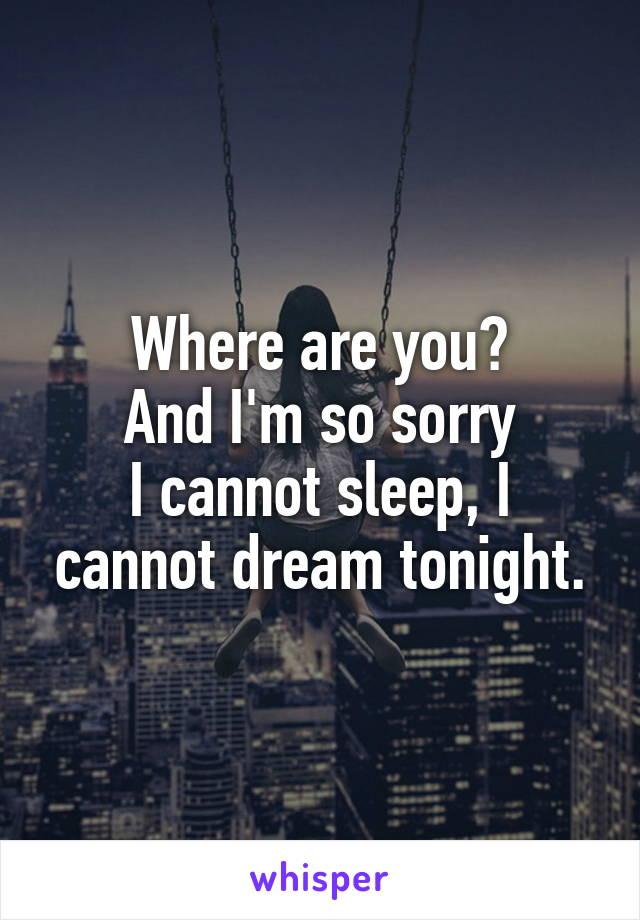 Where are you? And I'm so sorry I cannot sleep, I cannot dream tonight.