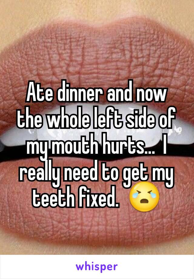 Ate dinner and now the whole left side of my mouth hurts...  I really need to get my teeth fixed.  😭