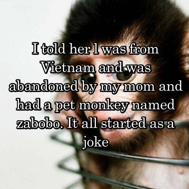 I told her l was from Vietnam and was abandoned by my mom and had a pet monkey named zabobo. It all started as a joke