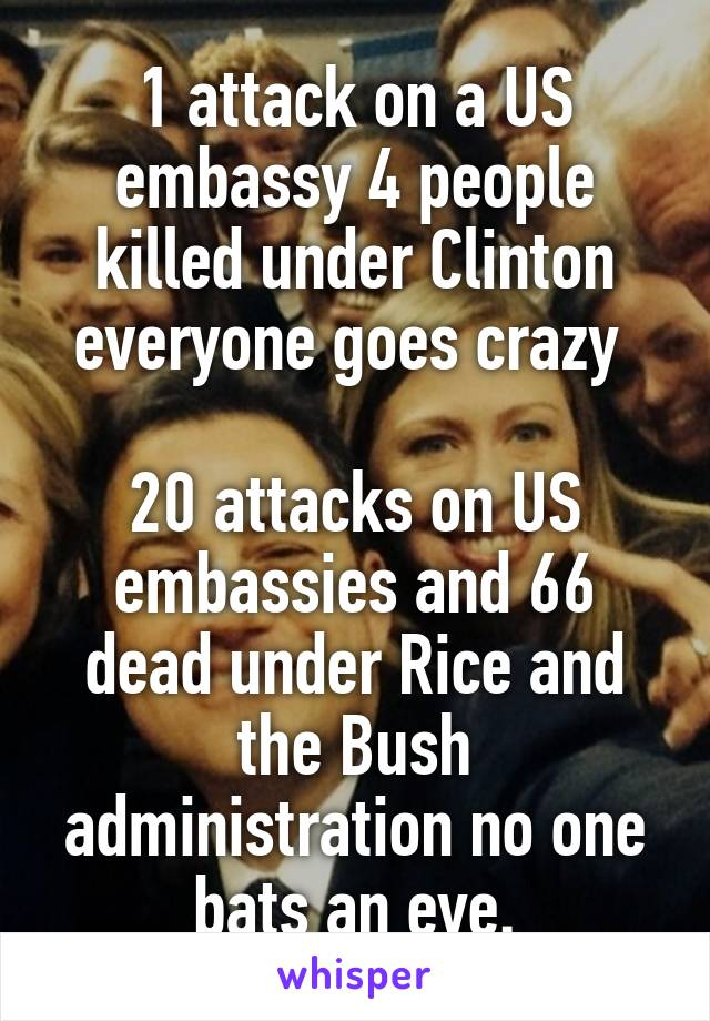 1 attack on a US embassy 4 people killed under Clinton everyone goes crazy   20 attacks on US embassies and 66 dead under Rice and the Bush administration no one bats an eye.