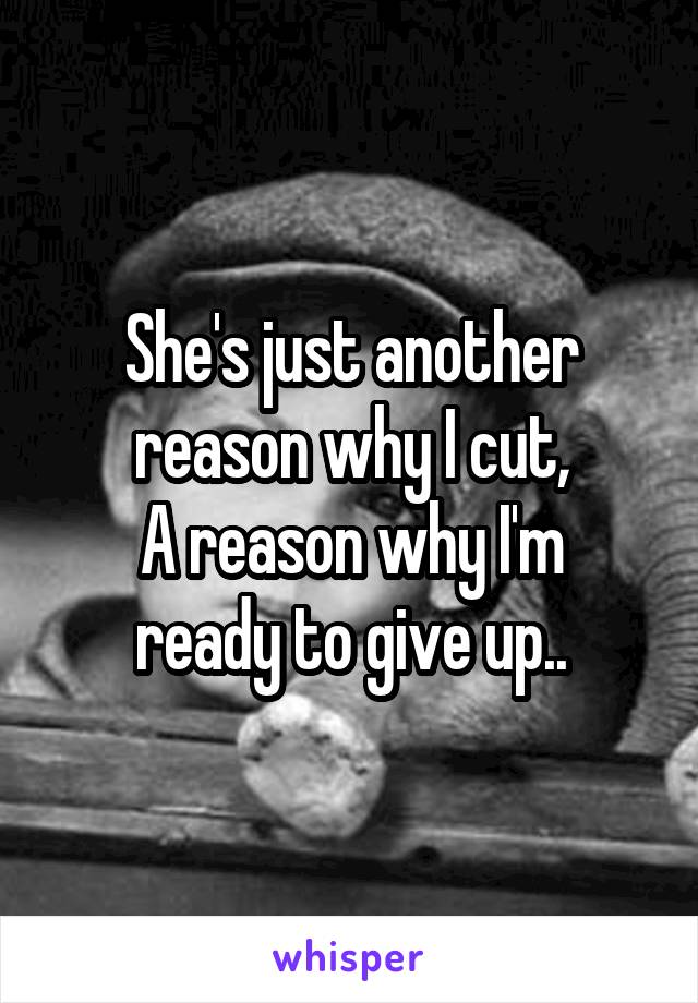 She's just another reason why I cut, A reason why I'm ready to give up..