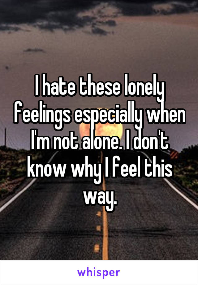 I hate these lonely feelings especially when I'm not alone. I don't know why I feel this way.