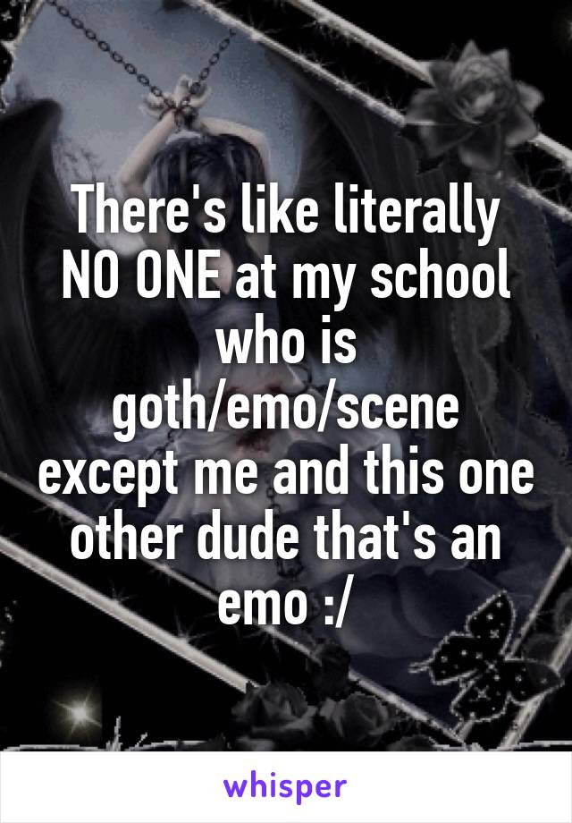 There's like literally NO ONE at my school who is goth/emo/scene except me and this one other dude that's an emo :/