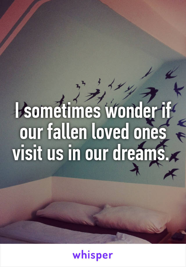 I sometimes wonder if our fallen loved ones visit us in our dreams.