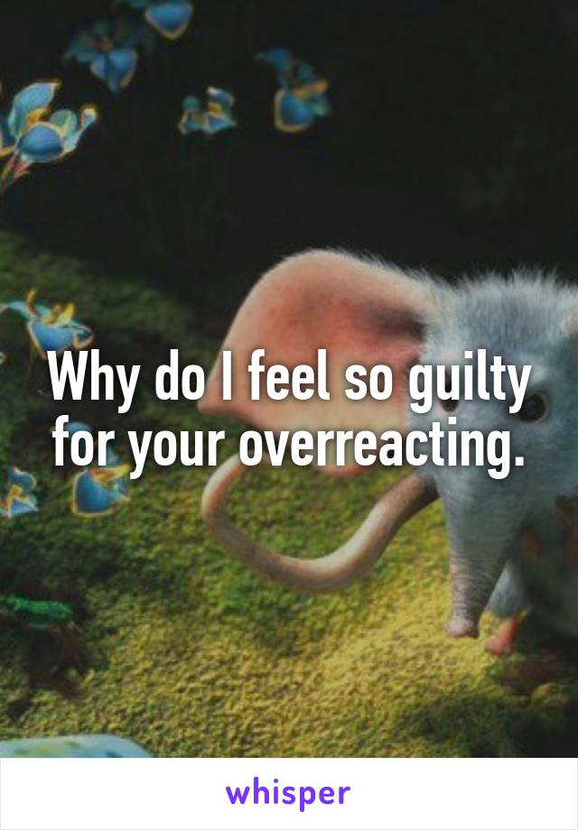 Why do I feel so guilty for your overreacting.