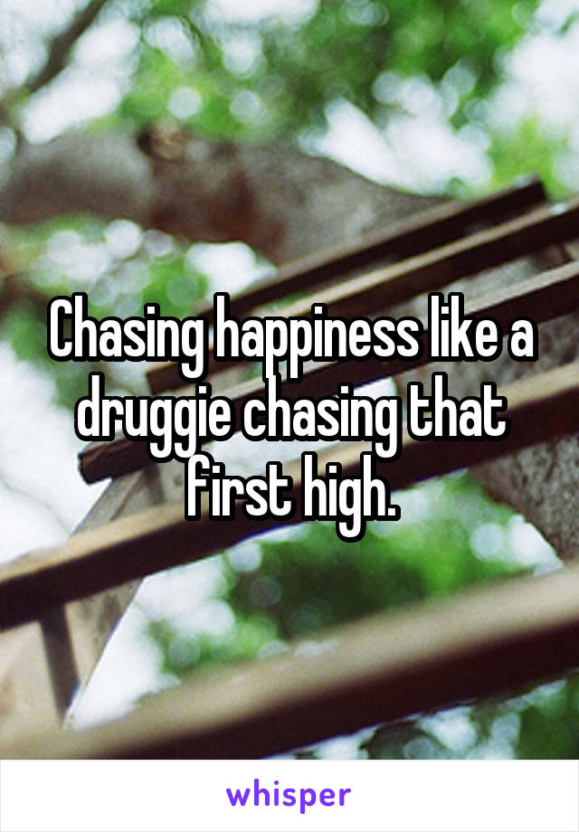 Chasing happiness like a druggie chasing that first high.