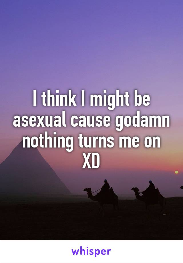I think I might be asexual cause godamn nothing turns me on XD