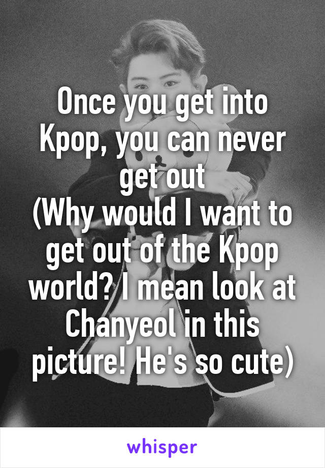 Once you get into Kpop, you can never get out (Why would I want to get out of the Kpop world? I mean look at Chanyeol in this picture! He's so cute)