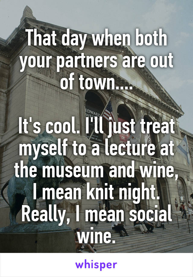 That day when both your partners are out of town....  It's cool. I'll just treat myself to a lecture at the museum and wine, I mean knit night. Really, I mean social wine.