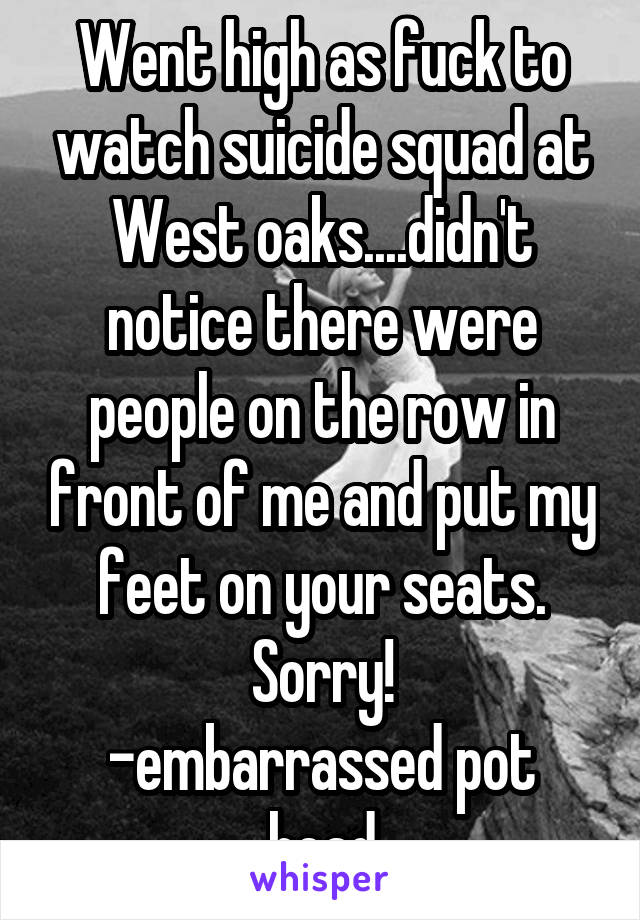 Went high as fuck to watch suicide squad at West oaks....didn't notice there were people on the row in front of me and put my feet on your seats. Sorry! -embarrassed pot head