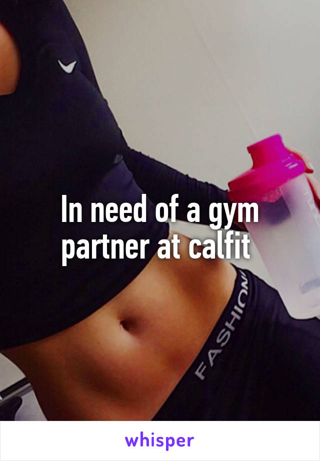 In need of a gym partner at calfit