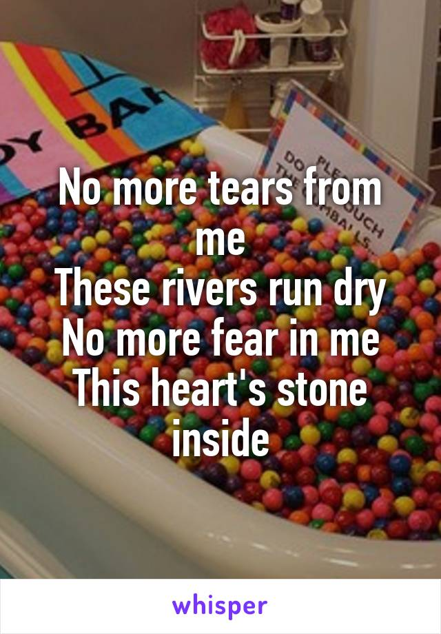 No more tears from me These rivers run dry No more fear in me This heart's stone inside