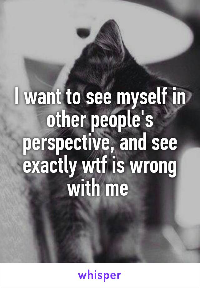 I want to see myself in other people's perspective, and see exactly wtf is wrong with me