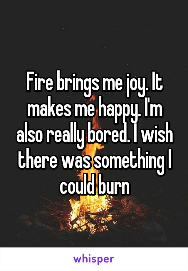 Fire brings me joy. It makes me happy. I'm also really bored. I wish there was something I could burn