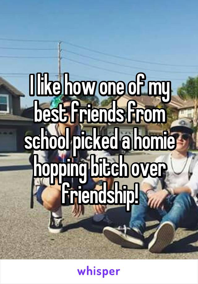 I like how one of my best friends from school picked a homie hopping bitch over friendship!