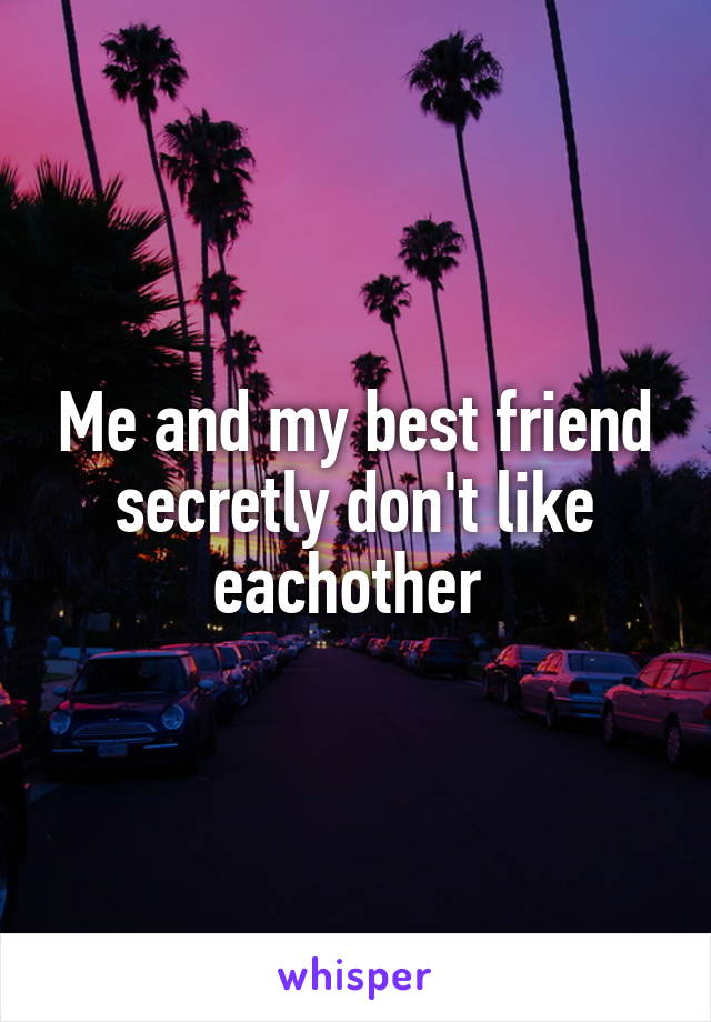 Me and my best friend secretly don't like eachother