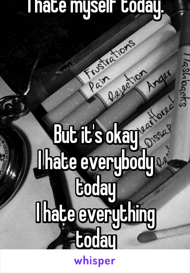 I hate myself today.     But it's okay I hate everybody today I hate everything today Depression sucks