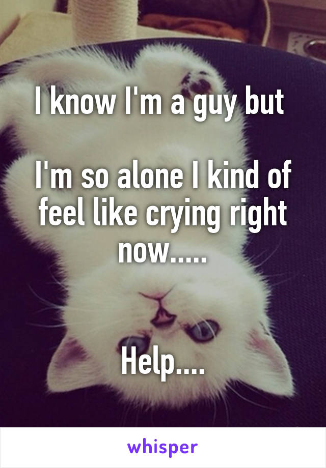 I know I'm a guy but   I'm so alone I kind of feel like crying right now.....   Help....
