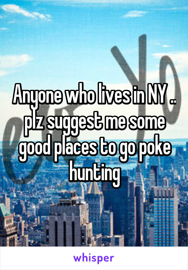 Anyone who lives in NY .. plz suggest me some good places to go poke hunting