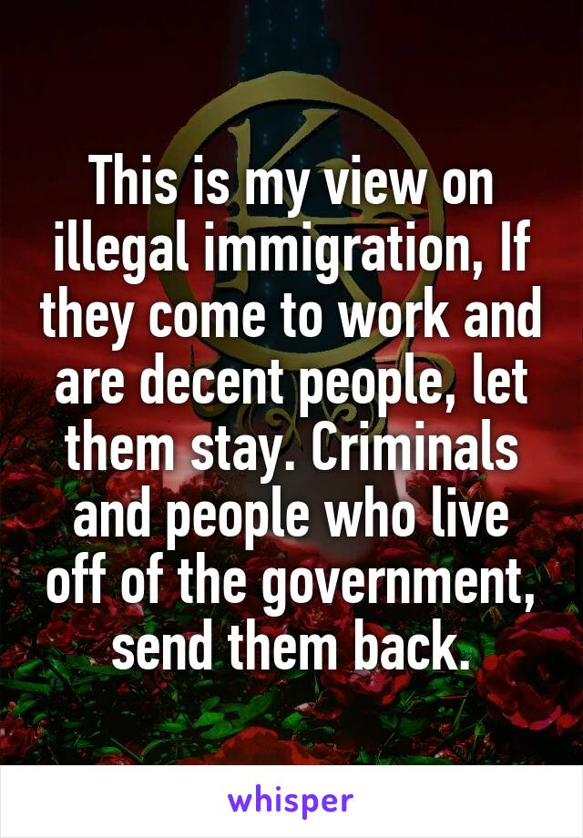 This is my view on illegal immigration, If they come to work and are decent people, let them stay. Criminals and people who live off of the government, send them back.