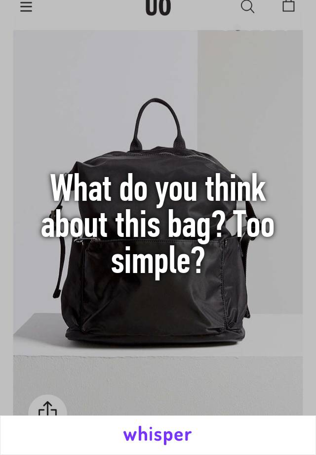 What do you think about this bag? Too simple?