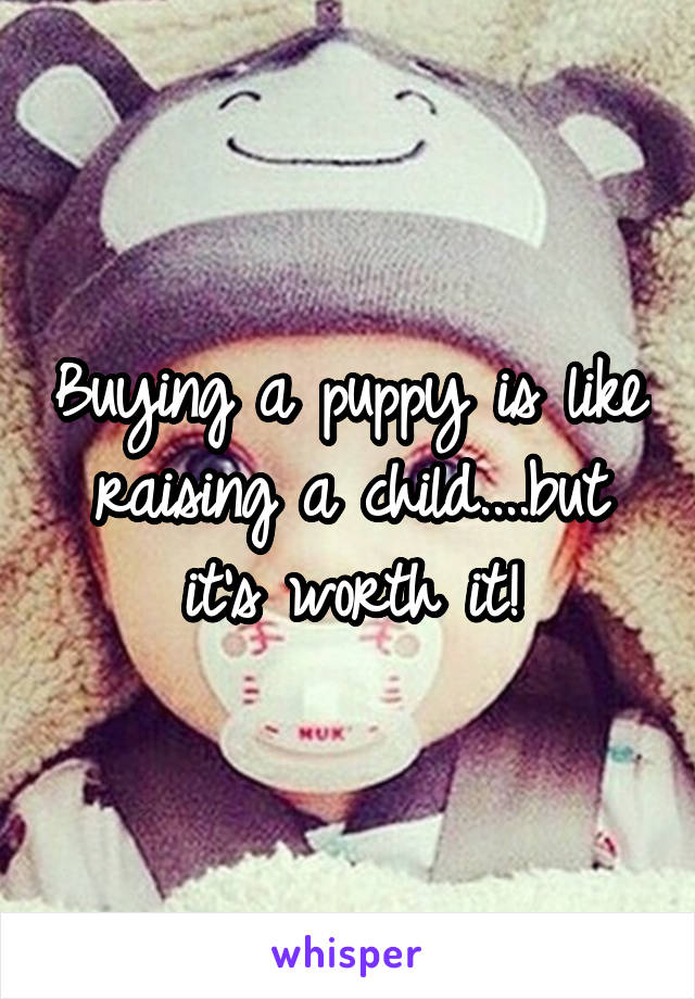 Buying a puppy is like raising a child....but it's worth it!