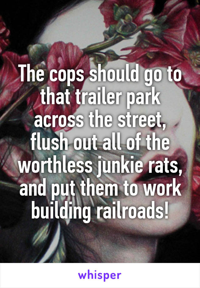 The cops should go to that trailer park across the street, flush out all of the worthless junkie rats, and put them to work building railroads!