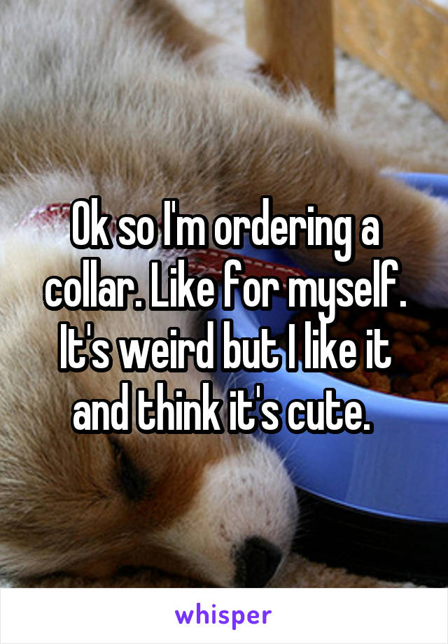 Ok so I'm ordering a collar. Like for myself. It's weird but I like it and think it's cute.