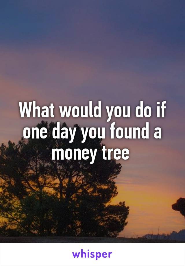 What would you do if one day you found a money tree