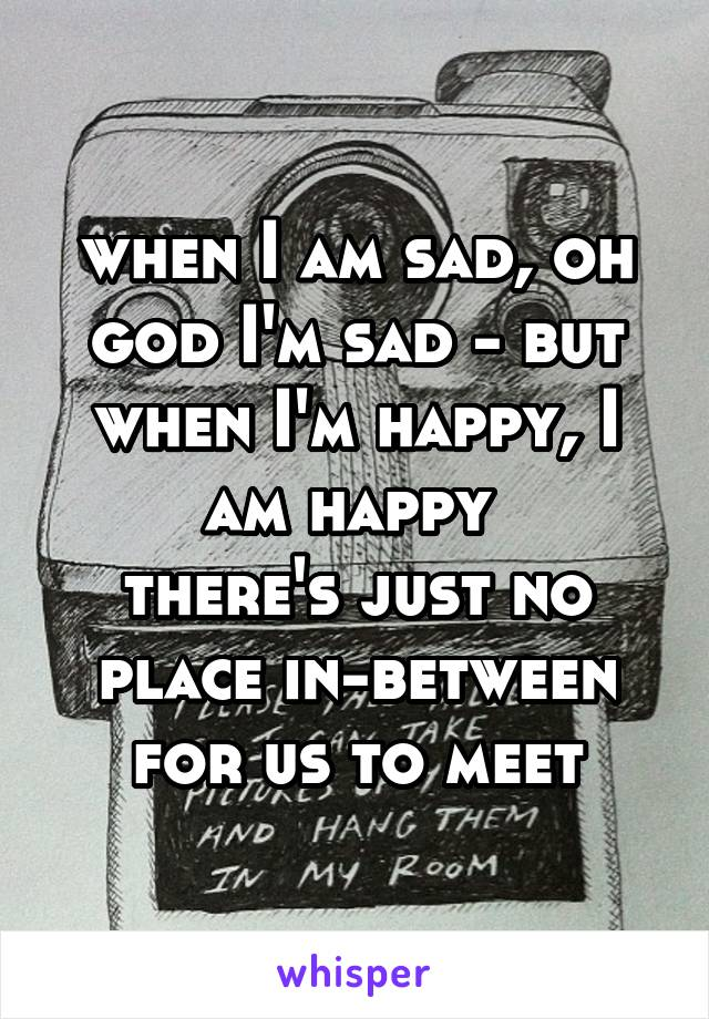 when I am sad, oh god I'm sad - but when I'm happy, I am happy  there's just no place in-between for us to meet