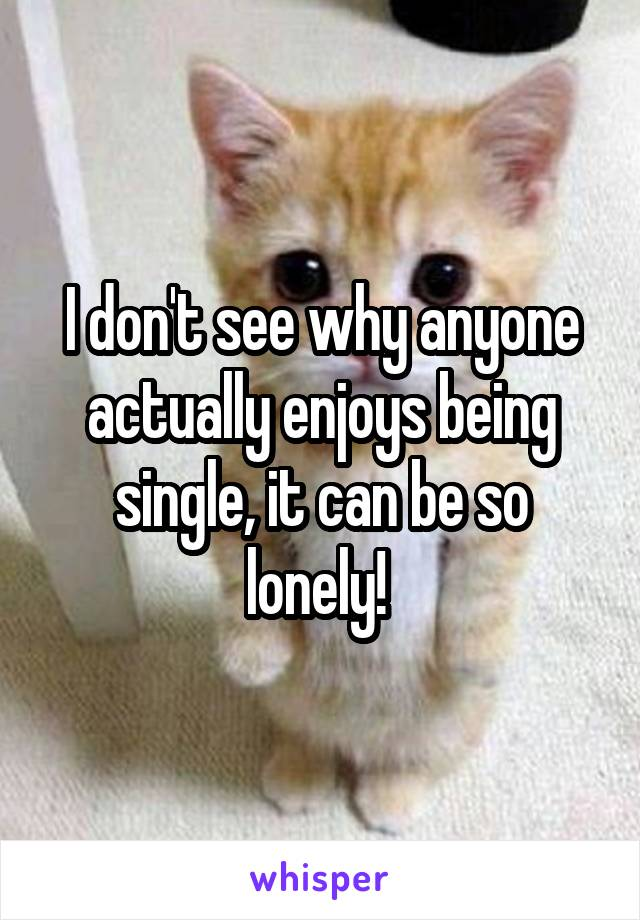 I don't see why anyone actually enjoys being single, it can be so lonely!